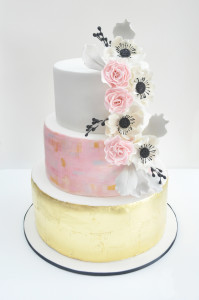 Hand Painted and Gold Leaf Cake